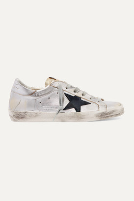 Golden Goose Superstar Two-tone Distressed Metallic Leather Sneakers - Silver