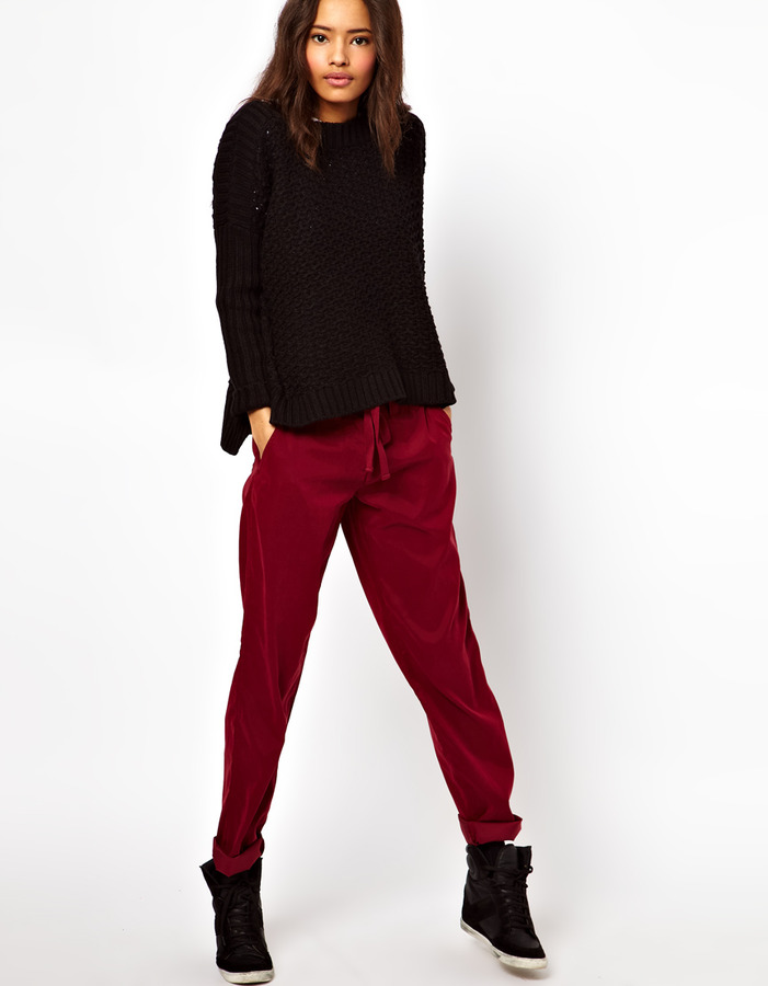 Asos Peg Pants with Draw Cord Detail