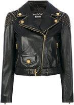 Moschino studded biker jacket - women - Calf Leather/Polyester - 40