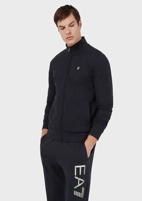 Ea7 Cotton Sweatshirt With Full-Length Zip And Crest