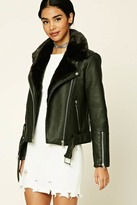 Forever 21 FOREVER 21+ Belted Faux Leather Moto Jacket