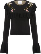 Hayley Menzies Frills Crop Jumper - Siouzsie Black - viscose   black   Floral design   L - Black/Black