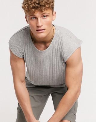 Brave Soul ribbed sleeveless t-shirt singlet in oversized fit
