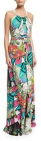 Etro Halter-Neck Arcade-Print Gown, Turquoise/White