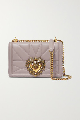 Dolce & Gabbana Devotion Mini Embellished Quilted Leather Shoulder Bag - Gray