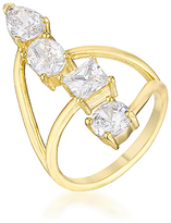 Kate Bissett Cubic Zirconia & Gold Stacked Bypass Ring