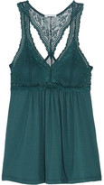 Eberjey Colette Lace And Stretch-modal Jersey Pajama Top - Dark green