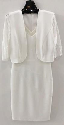 Maya Brooke Women's Embellished V NECKLING Jacket Dress with LACE Sleeves