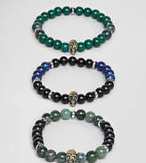 Reclaimed Vintage Inspired Skull Bracelet With Semi Precious Beads In 3 Pack Exclusive To Asos