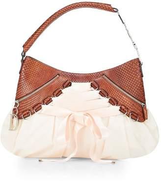 Christian Dior Pink Satin & Brown Python Embossed Leather Ballet Bag