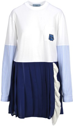 Prada Contrast Pleated Dress