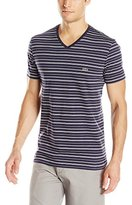 Lacoste Men's Short Sleeve Striped Jersey Regular Fit V Neck Tee Shirt