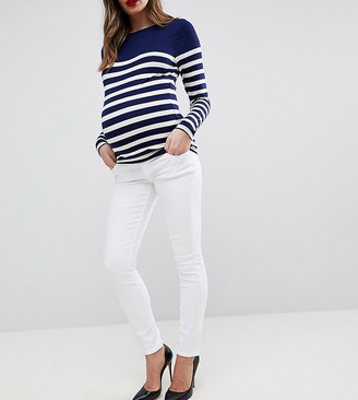 ASOS DESIGN Maternity high rise ridley 'skinny' jeans in white with under the bump waistband