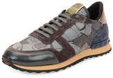 Valentino Camo Butterfly-Print Leather Sneaker, Gray