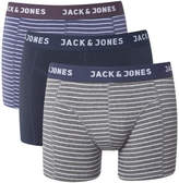 Jack and Jones Men's Stroketone 3 Pack Boxers - Navy/Grey