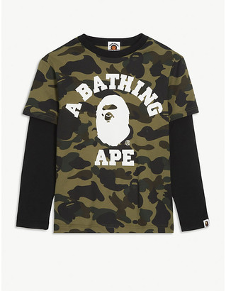 A Bathing Ape Logo camouflage print layered cotton top 4-8 years