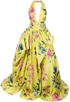 Marchesa Halterneck Floral Gown