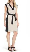 BOSS Women's Hakordia1 Belted Colorblock Crepe Dress