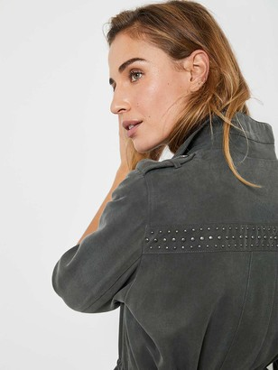 Mint Velvet Studded Tencel Jacket - Khaki