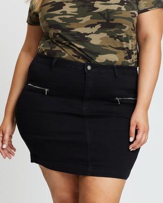 Missguided Curve Zip Pocket Super Stretch Denim Mini Skirt