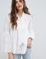 Maison Scotch Broderie Anglaise Tiered Top With Fluted Sleeve And Neck Tie