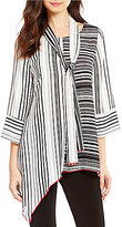 IC Collection Round Neck 3/4 Sleeve Long Striped Top