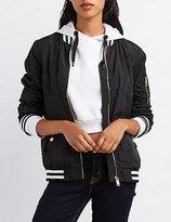 Charlotte Russe Varsity Stripe Bomber Jacket