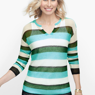 Talbots Split Neck Mesh Stripe Sweater