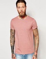 Asos T-shirt With Roll Sleeve In Pink Marl