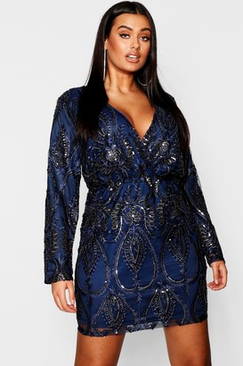 boohoo Plus Lace & Sequin Plunge Mini Dress