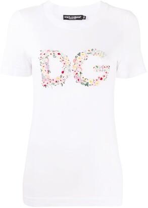 Dolce & Gabbana floral-logo short-sleeve T-shirt
