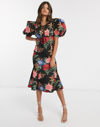 Asos Design DESIGN floral puff sleeve lace up midi pencil dress in multi