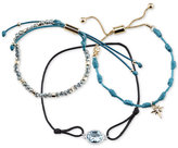 Unwritten 3-Pc. Set Two-Tone Blue Cord Large Crystal & Starburst Adjustable Bracelets