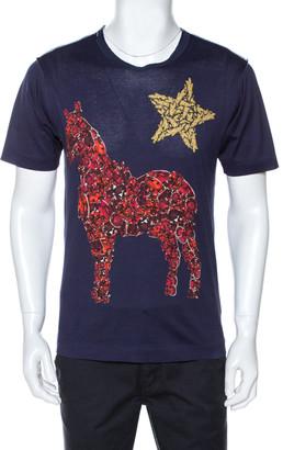 Dolce & Gabbana Navy Blue Crystal Horse Print Cotton T-Shirt XS