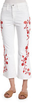 AG Adriano Goldschmied Jodi Embroidered Flare-Leg Cropped Jeans, White