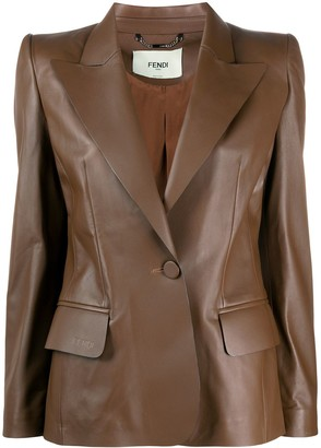 Fendi Single-Breasted Leather Blazer