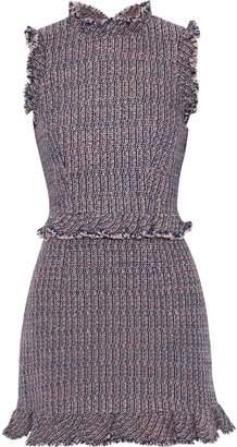 Rebecca Taylor Ruffle-trimmed Cotton-blend Tweed Mini Dress