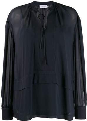 Calvin Klein Sheer Tie Fastened Top