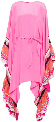 Emilio Pucci Ruffled Embellished Silk-jersey And Twill Dress