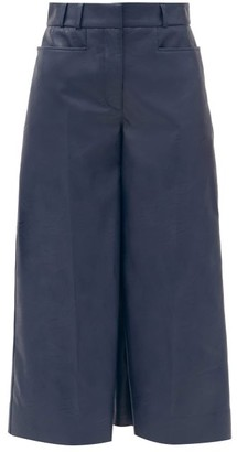 Stella McCartney Charlotte Faux-leather Cropped Wide-leg Trousers - Navy