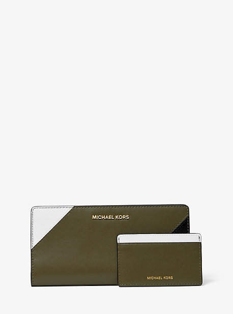 Michael Kors Large Tri-Color Leather Slim Wallet