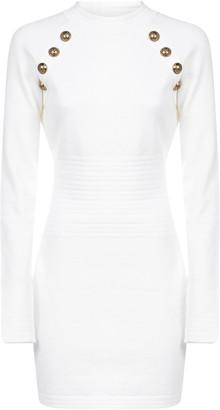 Balmain Diamond-motif Stretch Knit Mini Dress