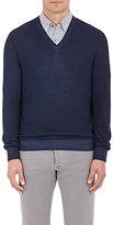 Ermenegildo Zegna Men's Wool-Silk Piqué V-Neck Sweater-BLUE