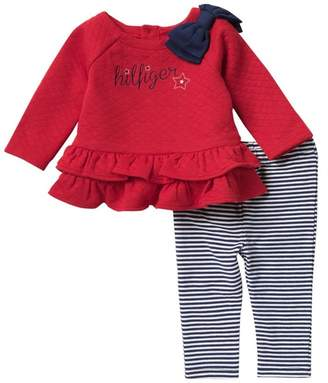 Tommy Hilfiger Quilted Ruffle Tunic & Striped Leggings Set (Baby Girls)