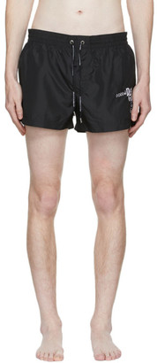 Dolce & Gabbana Black Embroidered Logo Swim Shorts
