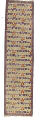 Pasargad NY Tibetan Modern Runner Hand-Knotted Wool/Silk Ivory Area Rug