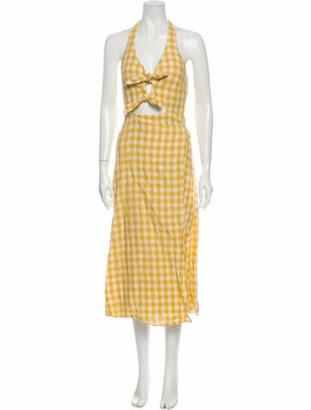 Reformation Linen Knee-Length Dress Yellow