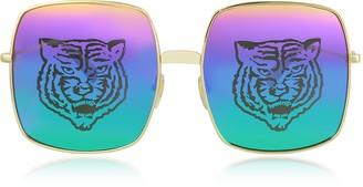 Gucci Rectangular-frame Metal Sunglasses w/Tiger Print