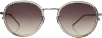 Linda Farrow White Gold Oval Sunglasses