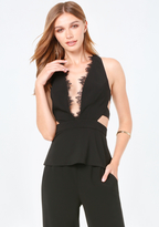 Bebe Lace Trim Cutout Top